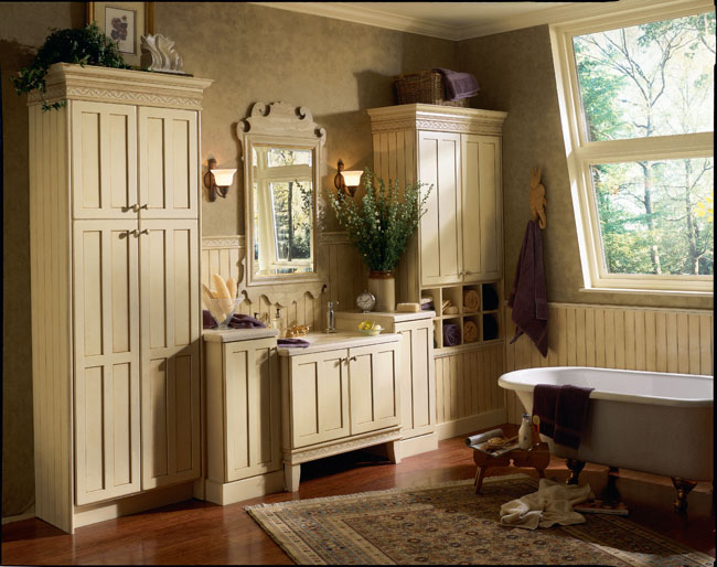 kraftmaid fairport in birch antique biscotti with taupe glazejpg - Bathroom Cabinets Kraftmaid