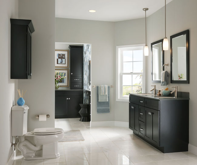 kraftmaid dark cabinetry in this minimalist bathjpg